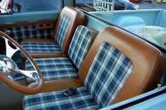 love to see a return of retro farm-truck interiors like the blue plaid treatment on this Chevy C10 Chevy Truck, Classic Chevy Trucks, Chevy Pickups, C10 Trucks, Pickup Trucks, Classic Cars, Custom Car Interior, Truck Interior, Airplane Interior