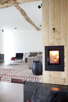 'Rabbit Hole' Gaasbeek - Belgium - by Lens Ass Architects Wood Burner Fireplace, Brick Fireplace, Architecture Magazines, Architecture Design, Victorian Fireplace, Old Farm, Rabbit Hole, Vintage Wood, Belgium