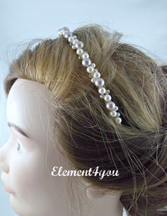 Bridal Pearl Tiara, Gold Headband, Swarovski Ivory Champagne Pearls Clusters, Beaded Hairband, Wedding Hair Accessories, Gold metal band