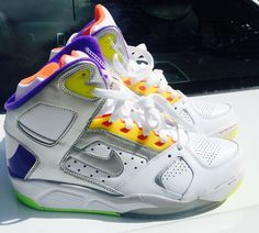 men shoes NIKE AIR FLIGHT LITE basketball high white plum mango lime sz 9   nike cf7aad94c8e8