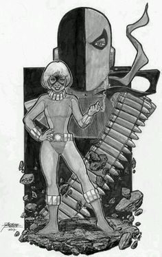 Original Comic Art titled Terra and Deathstroke from Teen Titans by George Perez, located in William T.'s Teen Titans/Deathstroke Comic Art Gallery Deathstroke Comics, Deathstroke The Terminator, Deadshot, Boston Comic Con, Dc Comics, The New Teen Titans, George Perez, Dc Characters, Comic Book Heroes