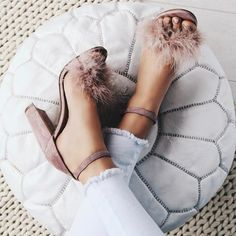 Steve Madden Fluffy Feathered Chunky Heels