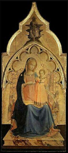 Certosa del Galluzzo Triptych (centre panel Maestà - Madonna Enthroned with Child), c1428, Fra Angelico. Museo Nazionale di San Marco, Florence.