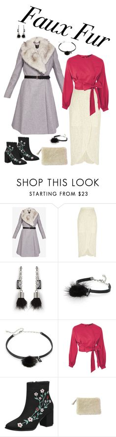 """""""Wow Factor: Faux Fur"""" by miriam-witte ❤ liked on Polyvore featuring Ted Baker, River Island, Simons, Topshop and DaBaGirl"""