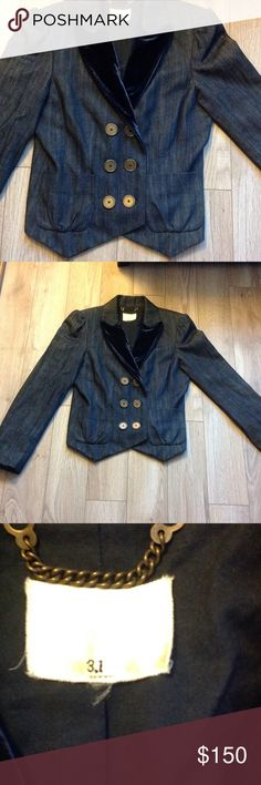 """3.1 Phillip Lin denim velvet tuxedo jacket Adorable blue denim with blue velvet tuxedo lapels on a jean jacket. Cute ruffle on the back. No size but fits like an XS. Measures 17"""" underarm laid lay (34"""" total) , 20 1/2"""" from shoulder to lowest point on hem. 3.1 Phillip Lim Jackets & Coats Jean Jackets"""