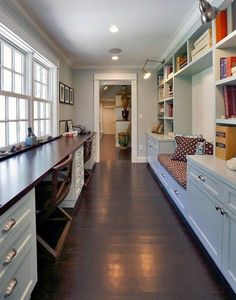 Homeschool Room: desk space looking out windows, reading nook, plenty of storage in small space. home office. home decor and interior decorating ideas. Hallway Office, Home Office Space, Home Office Design, Home Office Decor, Home Decor, Desk Space, Design Desk, Study Space, Library Design