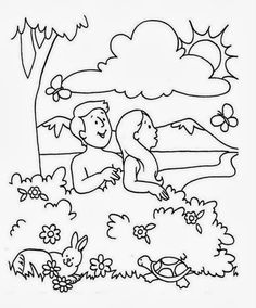 Adam and eve coloring pages for kids ~ Adam and Eve (Garden of Eden) | Free Printable Coloring ...