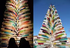 Murano glass looks amazing in all forms. Here is a stunning Murano Glass Christmas tree in Venice Italy.  This glass tree is 8.5m tall and 3m wide weighing in at 3 tons which makes it the world's largest glass blown tree. It was made by local glass blowers out of 1000 glass tubes and 2000 metal rods.