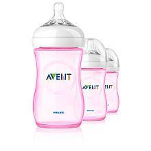 Philips AVENT 9 Ounce BPA Free Natural Polypropylene Bottles, Pink, 3 Pk