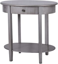 Crestview Collection CVFZR851 Hudson 1 Drawer Pewter Oval Accent Table 27 X 18 X 27