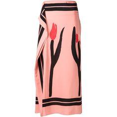 Marni draped floral print skirt