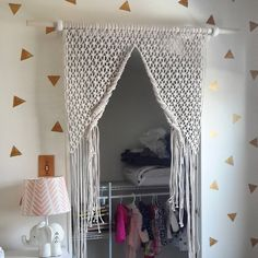 macrame door curtain by LuZeFibers on Etsy
