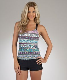 "Pair these cute black NEXT ""Good Karma"" swim shorts with a colorful top like the NEXT ""On The Bar"" tankini. FUN!"