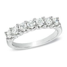 7/8 CT. T.W. Certified Diamond Seven Stone Wedding Band in 18K White Gold (H/VS2) - Zales