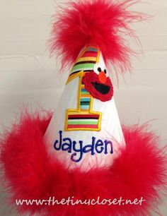Personalized Elmo Party Hat - Primary Stripe