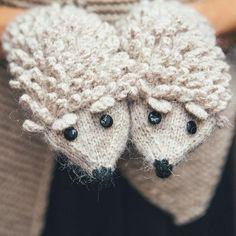 Hedgehog mittens knitted Pattern Animals Gloves Knitted Mittens Beige milk Girl Mittens Boy Gloves W