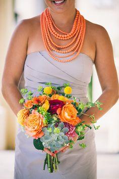 Bright & Fun Bridesmaid's Bouquet Comprised Of: Pink Dahlias, Yellow-Orange Dahlias, Fuchsia Garden Roses, Orange Roses, Yellow Craspedia (Billy Balls), Green Succulents & Green Bupleurum