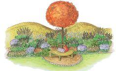 Schon von Weitem leuchtet das auffällig gefärbte Herbstlaub des aus Nordamerika stammenden Amberbaums. In dieser Gestaltungsidee bildet das Schmuckstück den Mittelpunkt eines kleinen Sitzplatzes.