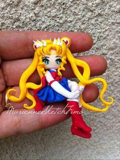 Sailor Moon Pendant handmade polymer clay by MarienneCreations