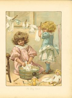Antique Victorian 1897 Ernest Nister Childrens Print Two Young Girls Washing Dolls Clothes Hanging Washing On Line Book Plate Illustration Vintage Prints, Posters Vintage, Vintage Artwork, Vintage Greeting Cards, Vintage Ephemera, Vintage Pictures, Vintage Images, Vintage Illustration, Vintage Diy