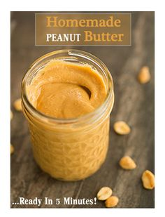 Homemade Peanut Butter Recipe - You only need one ingredient, a food processor and 5 minutes.