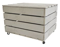 Grey Wooden TRUNK on wheels crate box 50x40x30 FREE by FirstRoom
