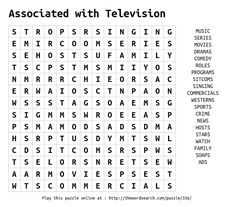 Associated with Television Word Search Kids Word Search, Word Search Puzzles, Logic Puzzles, Crossword Puzzles, English Worksheets For Kids, Fun Summer Activities, Grammar Lessons, Brain Games, Coloring Pages To Print