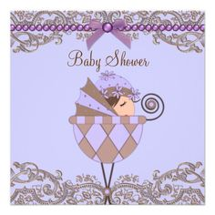 Lavender Purple Brown Lace Girl Baby Shower Personalized Invite