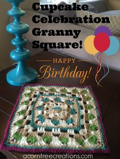 """Cupcake Celebration Square, free 12"""" crochet square by Acorn Tree Creations"""
