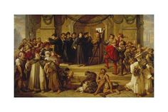 Martin Luther Ninety-Five Theses Being Nailed to the Door of Wittenberg Church Giclee Print by Julius Hübner at Art.com