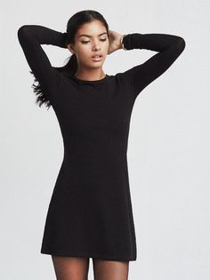 In case you missed it, we're pretty into Jane Birkin. We made this dress with her in mind, or rather with wanting to look like her in mind. The Sabina Dress is a long sleeve mini dress made from ribbed stretch jersey. It's slightly A-line and basically the thing to throw on when you want to feel like a leggy babe rolling around France in the 1960s. Word. Made from 88% tencel 12% spandex.