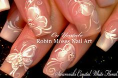 White Flower Nails | DIY French Pink Wedding Nail Art Design Tutorial
