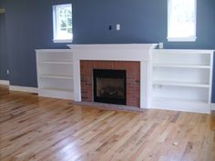 Direct Vent gas fireplace, with built-in shelving.