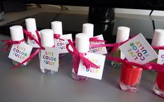 Nail polish favors for a kate spade themed bridal shower -- so fun! Beach Bridal Showers, Bridal Shower Favors, Bridal Shower Decorations, Party Favours, Nail Polish Favors, Kate Spade Bridal, Bridal Luncheon, Party Planning, Creations