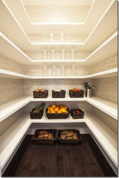 walk in pantry. open shelving. white and cream joinery. clean. simple. cantilever shelves. wall hung.