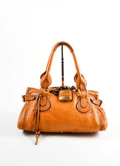 "Brown Chloe Leather Oversized Lock ""Paddington"" Satchel Handbag"