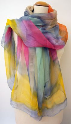 Handpainted silk chiffon scarf. Silk scarves.Handpainted by gilbea