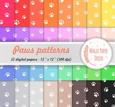 Paws patterns, Paws, Cute paws, Digital paper, Paw print, Dog paws, 32 colors, Digital Paper Pack, Scrapbook paper, Seamless pattern, Color