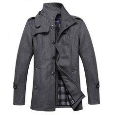 Manteau Duffle en Laine pour Homme avec Lanière au Coll 440be0689875
