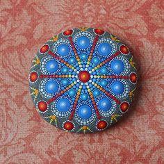 Jewel Drop Mandala Painted Stone  painted by Elspeth McLean