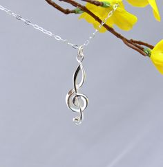 Silver Treble Clef Necklace  Pure Sterling Silver by PiecesByEmily, $36.00