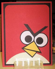 Angry Birds Card using no stamps!  . This looks so easy! ( circle punch, triangle punch, corner edger, and a half circle!)