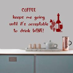 Wall Decals Quote Coffee Keeps Me Going Until by DecalMyHappyShop