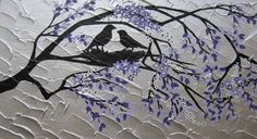 painting with birds and purple / white  blossom - variety of sizes and colours available- feel free to suggest variations. $250.00, via Etsy.