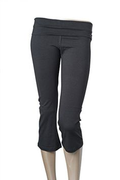 TheLovely Foldover Waistband Stretch Capri Length Flare Bottom Yoga Pants pluscharcoal 2xl  ** Check this awesome product by going to the link at the image. (Note:Amazon affiliate link)