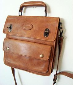 French Vintage Leather Satchel Messenger Bag Briefcase// thick ...