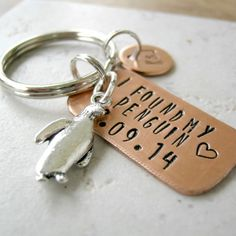 Personalized I Found My Penguin keychain anniversary by riskybeads