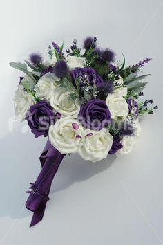 Scottish Wedding Ideas | Purple Ivory Bridal Bouquet, Filled w/ Scottish Thistles & Roses ...