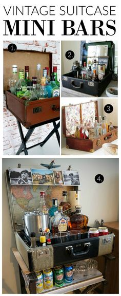 Lots of inspiration for creating a Vintage Suitcase Mini Bar!