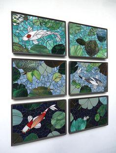 panneaux de mosaïque ZEN MINI KOI 6PC vitrail mur panneau